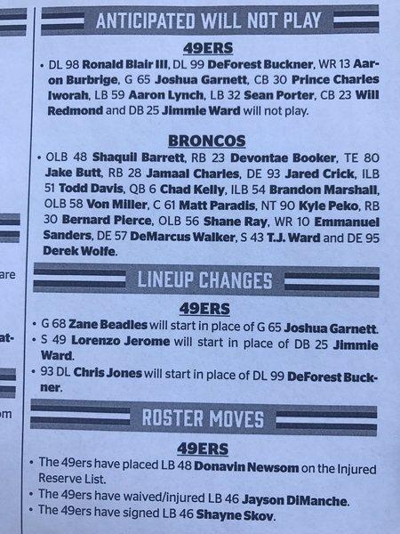 bc7fb0a66 ... Jayson DiManche Denver Broncos at San Francisco 49ers live blog