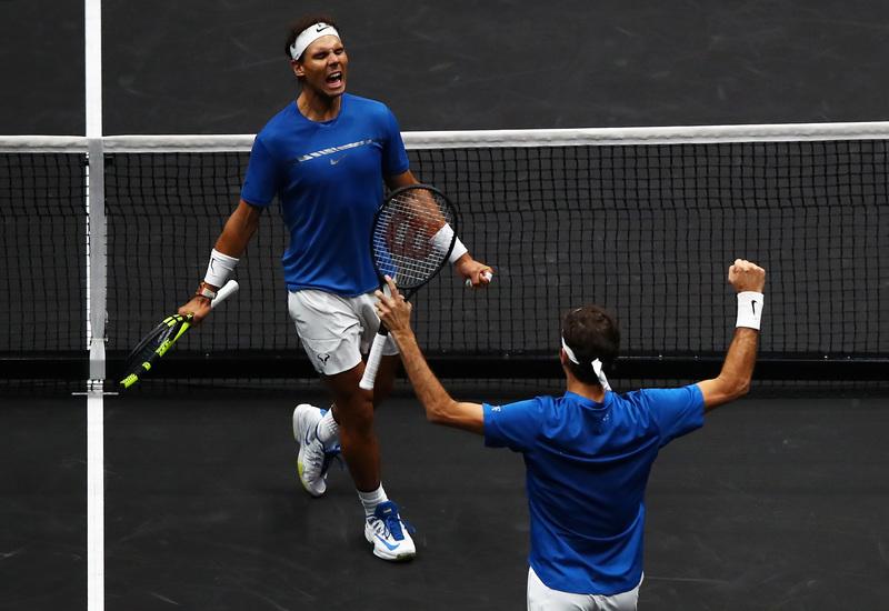 Así celebraron el punto que daba la victoria Rafa y Roger
