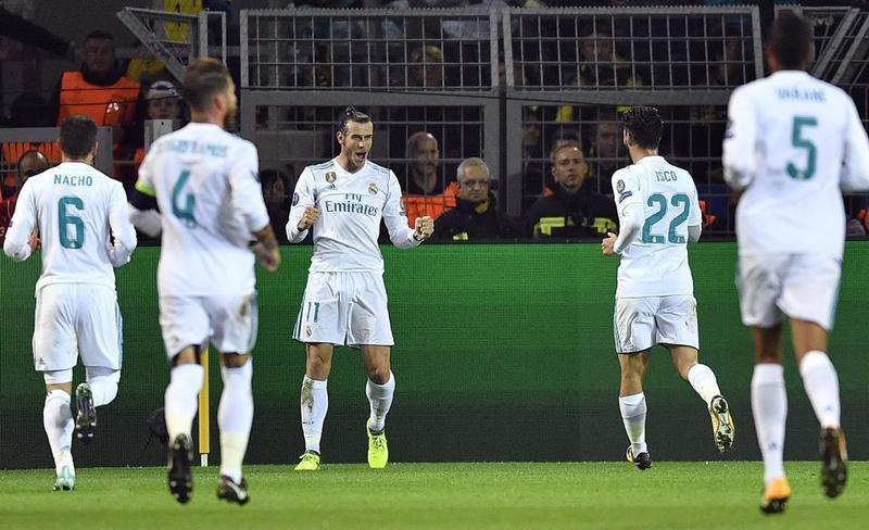 Así ha celebrado Bale su gol en Dortmund FOTO: AP