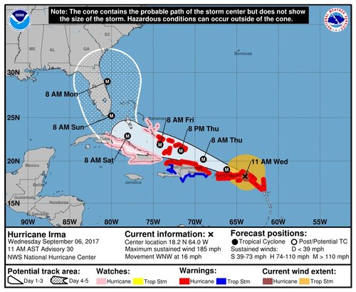 Irma slams Cuba, wobbles west and takes aim at Florida