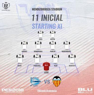 Alineación del Valencia en la Copa del Rey
