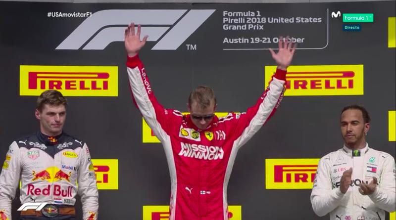 Raikkonen en lo más alto del podio.