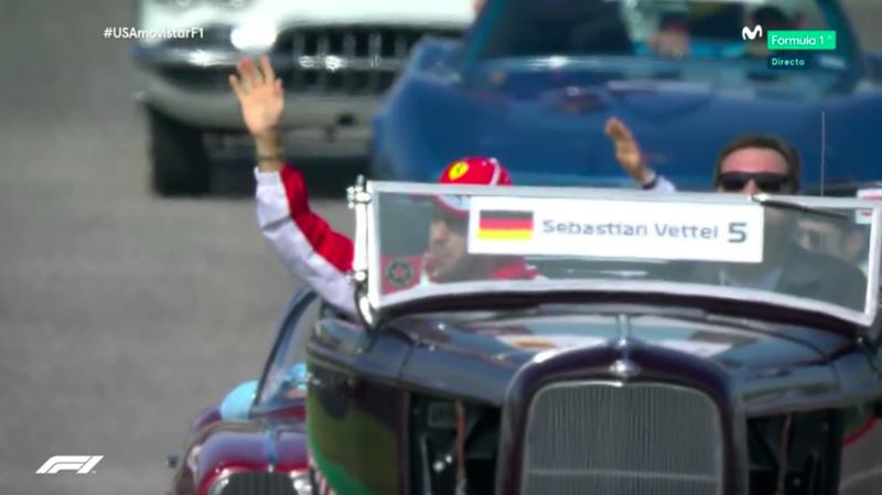 Vettel en la Drivers Parade.