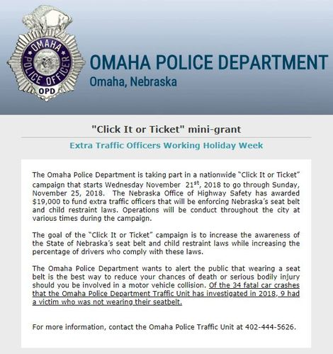 During This Campaign We Will Have Extra Officers Enforcing Nebraskas Seat Belt And Child Restraint Laws