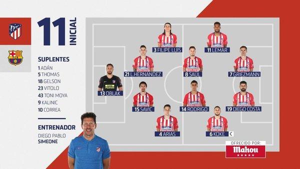 El once del Atlético, en la web del club colchonero