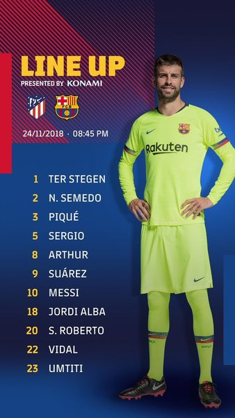 Y el once del Barça, en el twitter del FC Barcelona