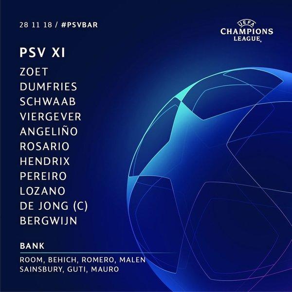 El once del PSV, en el twitter del club holandés