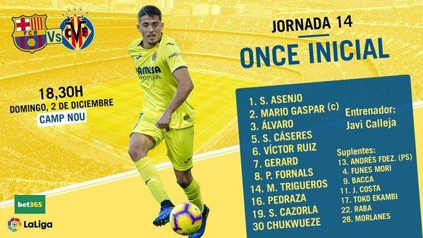 El once del Villarreal, en su cuenta de twitter