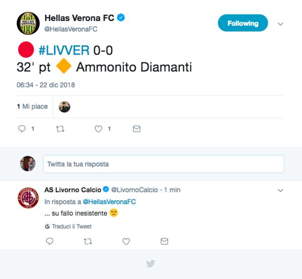 Nel frattempo divertente siparietto social Verona-Livorno sul giallo per Diamanti (peraltro diffidato e dunque squalificato)
