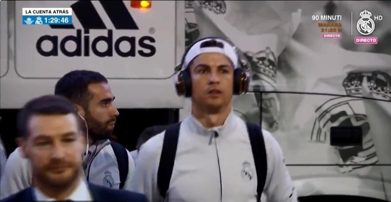 Cristiano Ronaldo, a su llegada al Benito Villamarín