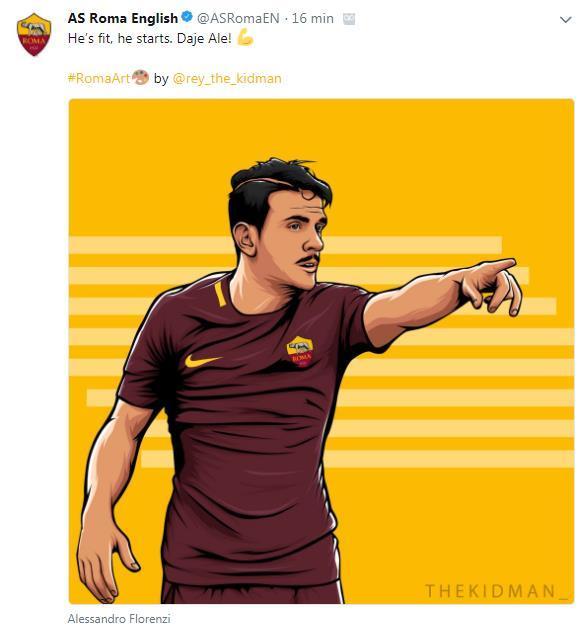 Así celebra la Roma la titularidad de Florenzi, que era duda (@ASRomaEN)