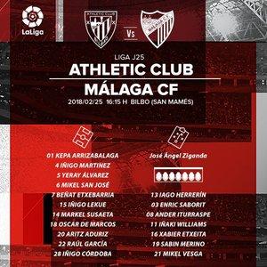 Así anuncia el Athletic su once inicial para esta tarde / @AthleticClub