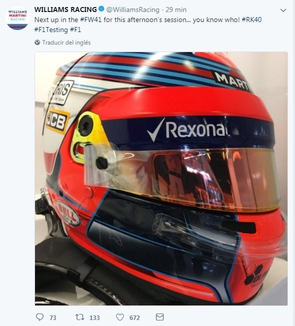 Wiliiams confirma por Twitter que Robert Kubica rodará esta tarde en los test de Montmeló