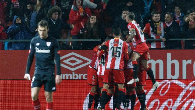 El Girona celebra el tanto de Stuani / LFP