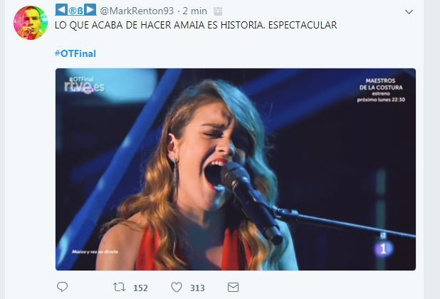 Twitter, a fuego con Amaia.