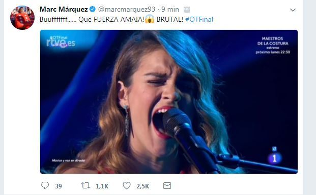 Márquez se rinde a Amaia en Twitter.