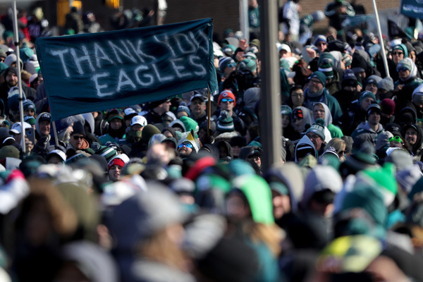 Fans hold up a sign thanking the Eagles at the Super Bowl celebration at  the Art Museum on Thursday. DAVID MAIALETTI   Staff Photographer 6b780ec83