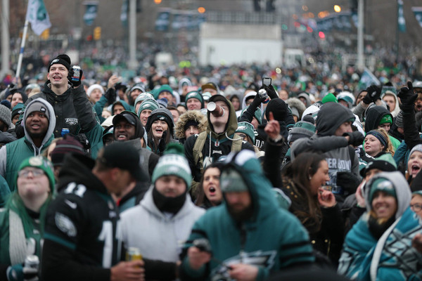 Fans cheers at the Super Bowl Champions celebration at the Art Museum in  Philadelphia on February 8 39856894b