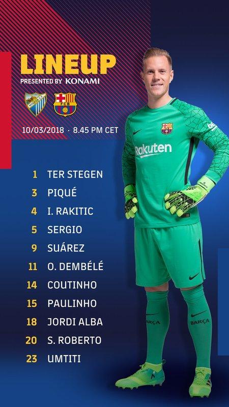 El once del Barça, tal y como lo anuncia el FC Barcelona
