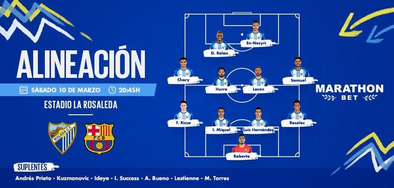 El once del Málaga, en el twitter del club andaluz