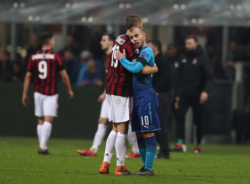 Wilshere, al término del partido de Europa League contra el Milan
