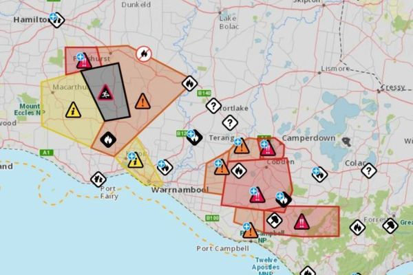 Emergency Victoria map of warning areas.