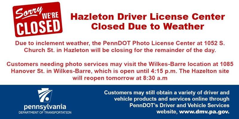 hazleton drivers license center photo hours
