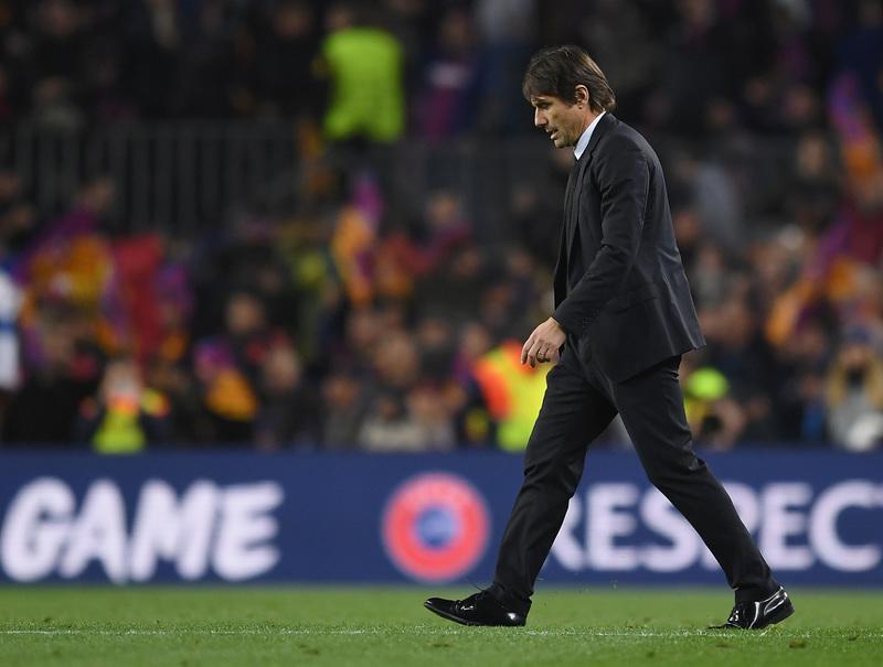 Conte, durante el partido del Chelsea contra el Barça en Champions