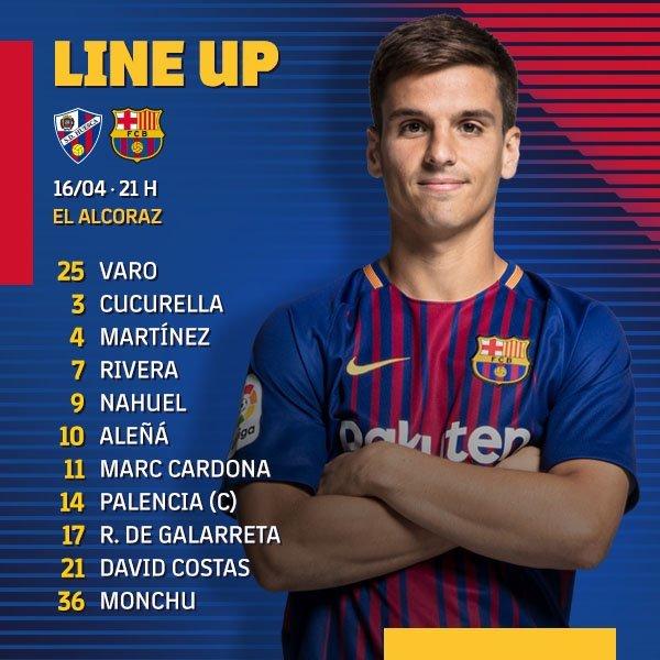 El once del Barça B, de forma más gráfica en el twitter del club