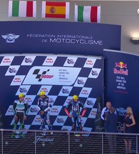 El podio de la cilindrada pequeña con Jorge Martín en lo más alto