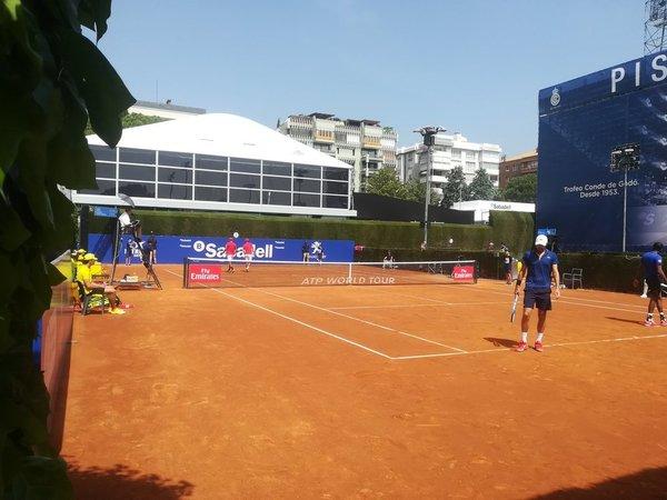 Imagen del partido de dobles ganado por Cabal y Farah.