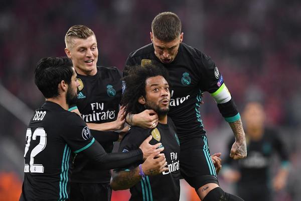 Marcelo en su celebración del gol del empate en las semifinales de la Champions League