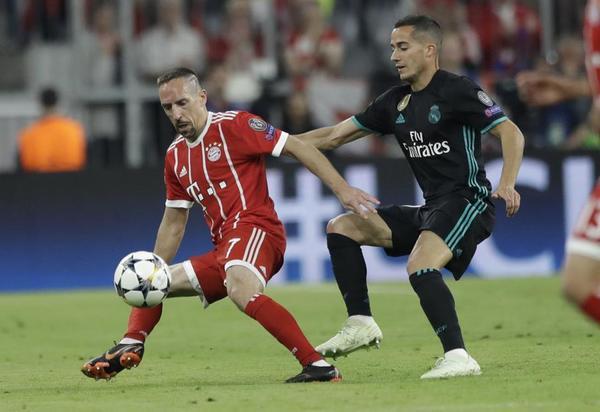 Lucas frente a Ribéry en el partido de Champions League entre Bayern de Múnich y Real Madrid