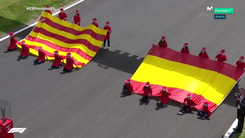 Banderas de España y Catalunya.