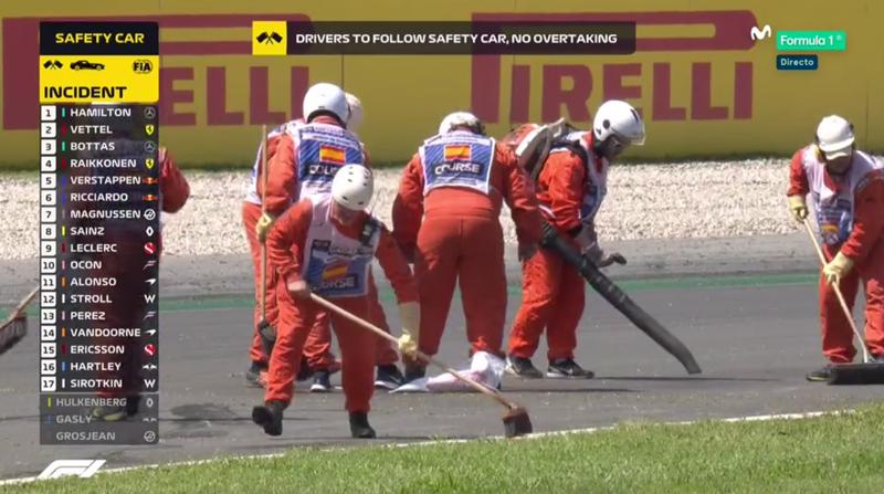 Limpiando la pista del Circuit.