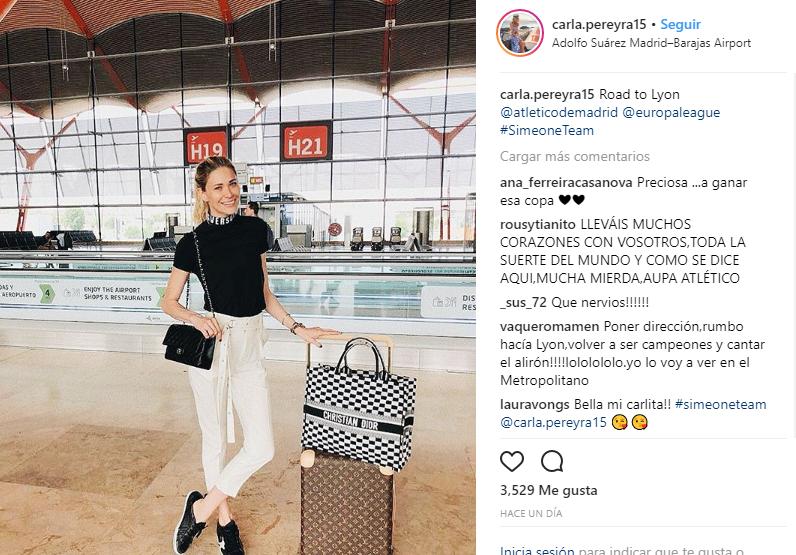 Carla Pereyra, la novia del Cholo, también se ha desplazado a Lyon