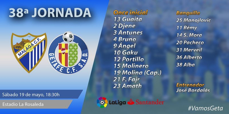 Los 11 azulones para este partido. @GetafeCF