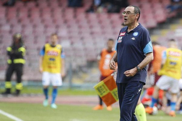 Maurizio Sarri, durante un partido con el Nápoles