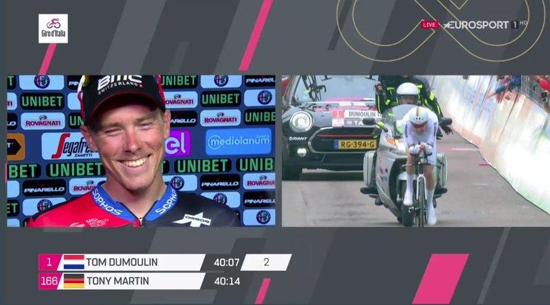 FELICIDAD DE ROHAN DENNIS (BMC), que consigue su primer triunfo en el Giro de Italia