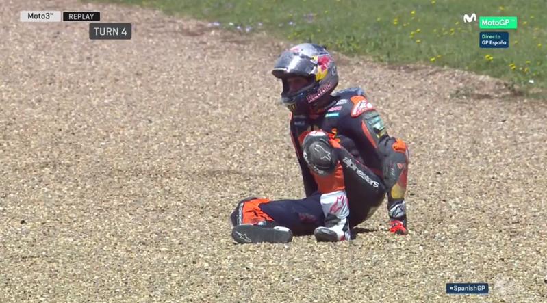 Binder tras la caída en Jerez.