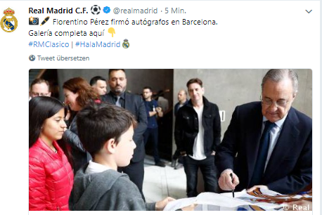 FLORENTINO FIRMA AUTÓGRAFO EN BARCELONA Como ha informado el Real Madrid ... 4988bb017621b