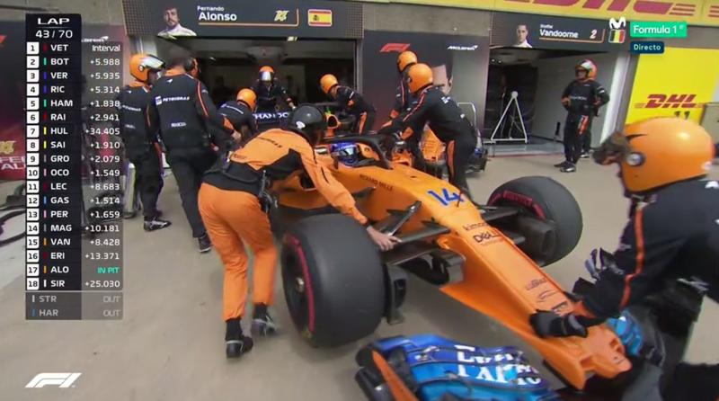 Alonso metiéndose en el box.