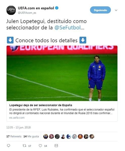 La UEFA ya ha colgado en Twitter la noticia de la destitución de Julen Lopetegui como seleccionador español