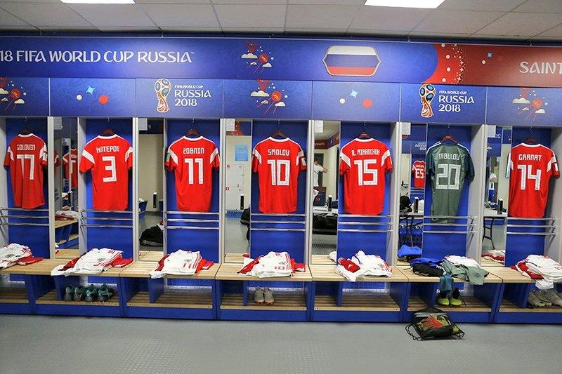Así luce el vestuario de Rusia para este encuentro de fútbol. TeamRusia
