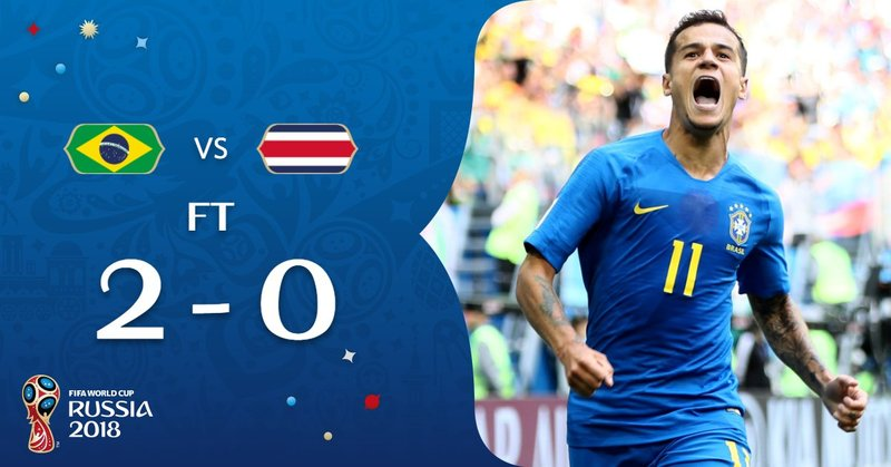 Brasil venció a Costa Rica en este Mundial de Rusia con goles que llegaron en el añadido. FIFAWorldCup.