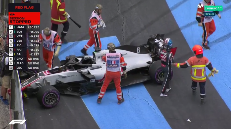 Coche de Grosjean tras el accidente.