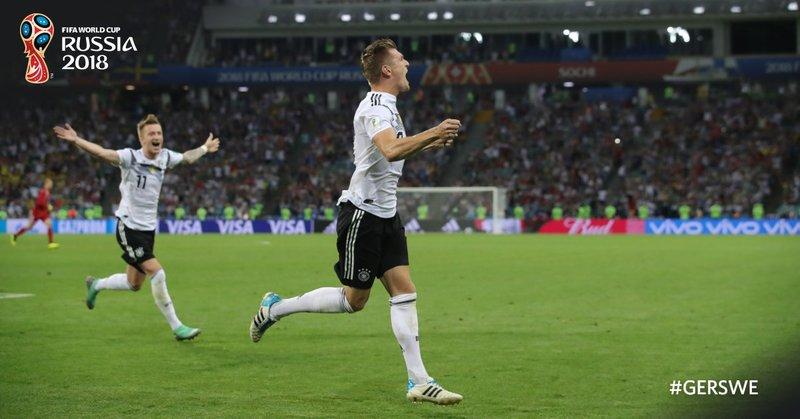 Así celebró Kroos el gol de la victoria. FIFAWorldCup