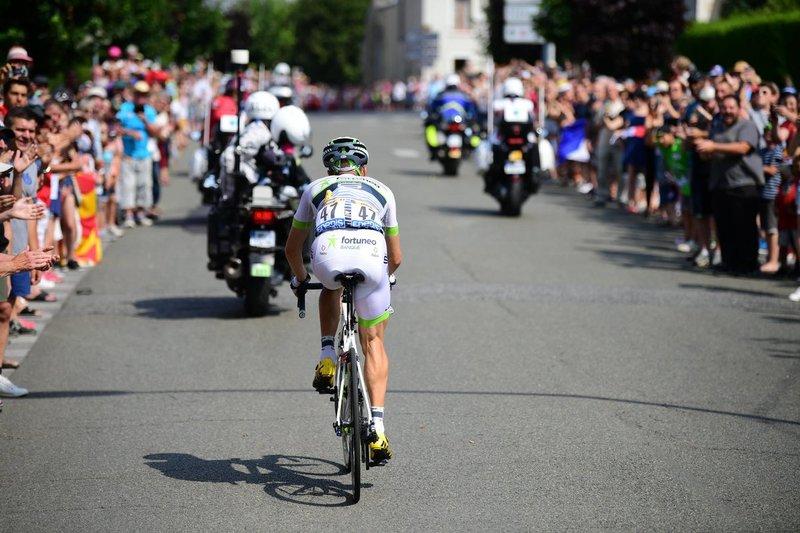 LAURENT PICHON (Fortuneo), el tercer ciclista de esta 7ª etapa del Tour de Francia 2018 que lo prueba en solitario tras Thomas Degand y Yoann Offredo, del Wanty.