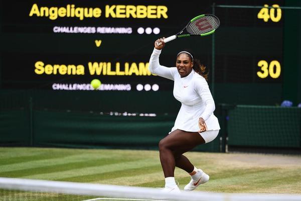 Serena Williams, buscando un 8º Wimbledon, un legendario 24º título de Grand Slam. A sus 36 años, madre. Impresionante figura histórica del deporte FOTO: GETTY