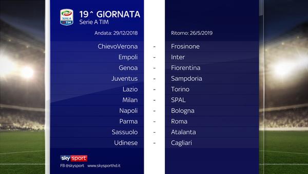 Calendario Serie Aa.Il Calendario Di Serie A 2018 2019 Sky Sport